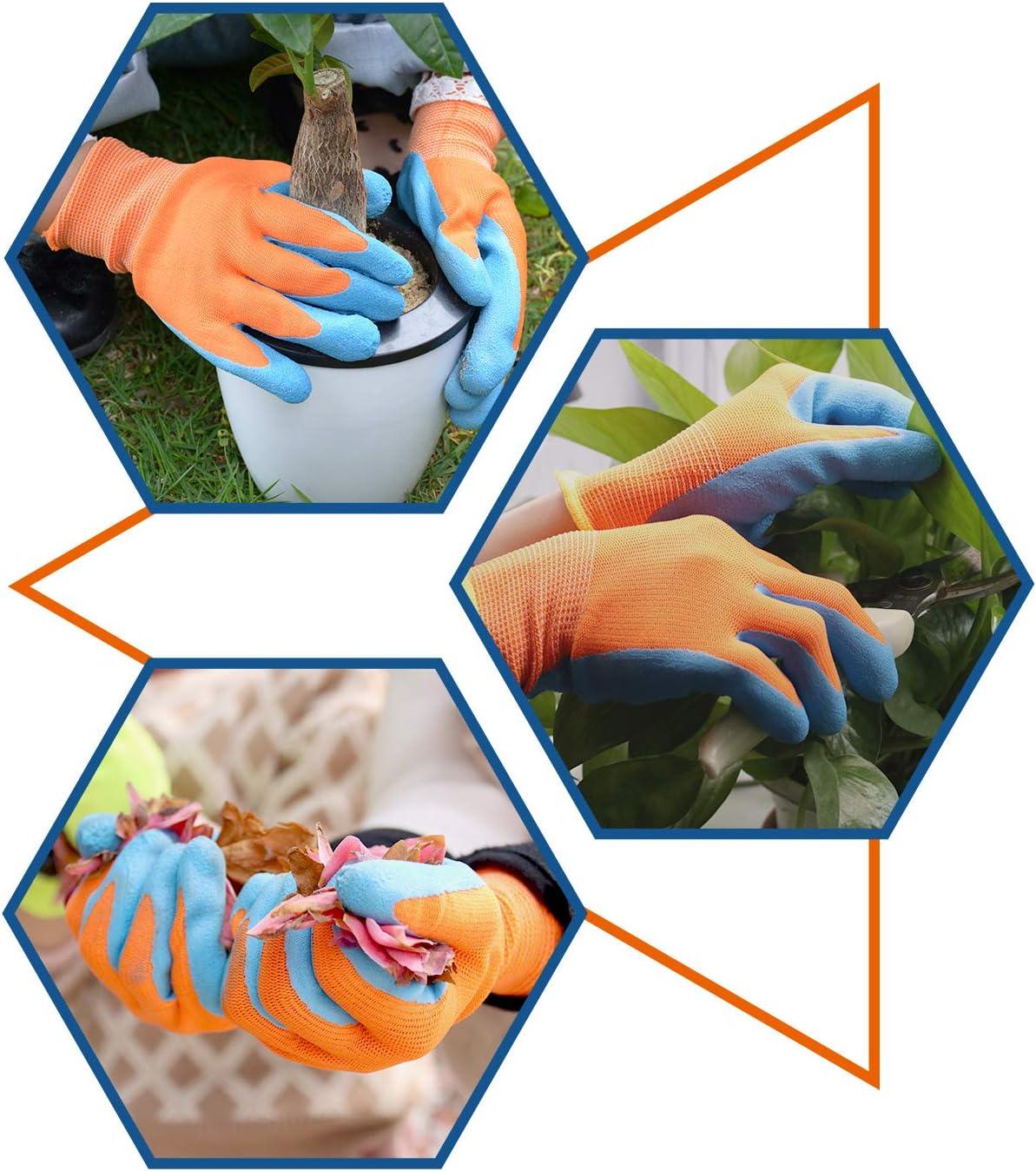de 4 a 5 a/ños y de 6 a 13 a/ños de edad guantes de trabajo para ni/ñas y ni/ños con revestimiento de goma de espuma 2 pares de guantes de jardiner/ía para ni/ños de 2 a 3 a/ños
