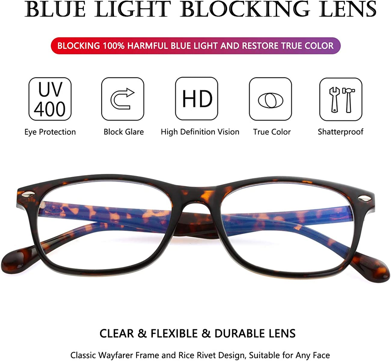 Blue Light Blocking Glasses for Men Womens Square Eyeglasses Unbreakable TR90 Frames with 100/% Anti-Blue Light Lens