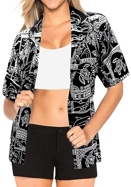 botón de Blusas hasta la Playa Hawaiano Camisa Desgaste para Mujer de Manga Corta Traje de baño Negro: Amazon.es: Ropa y accesorios