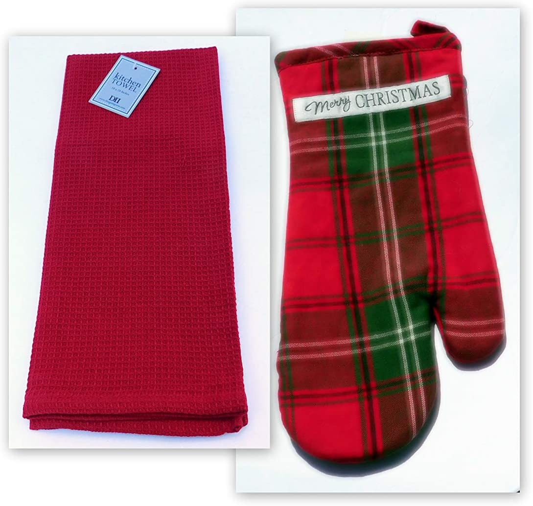Christmas Plaid Oven Mitt and Coordinating Red Dish Towel Over Sized with Waffle Texture Lynn's Herb Garden