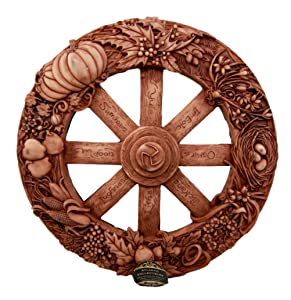 Ebros The Sabbats Wheel of The Year Wall Plaque Featuring Eight Pagan Festivals Sabbats By Maxine Miller