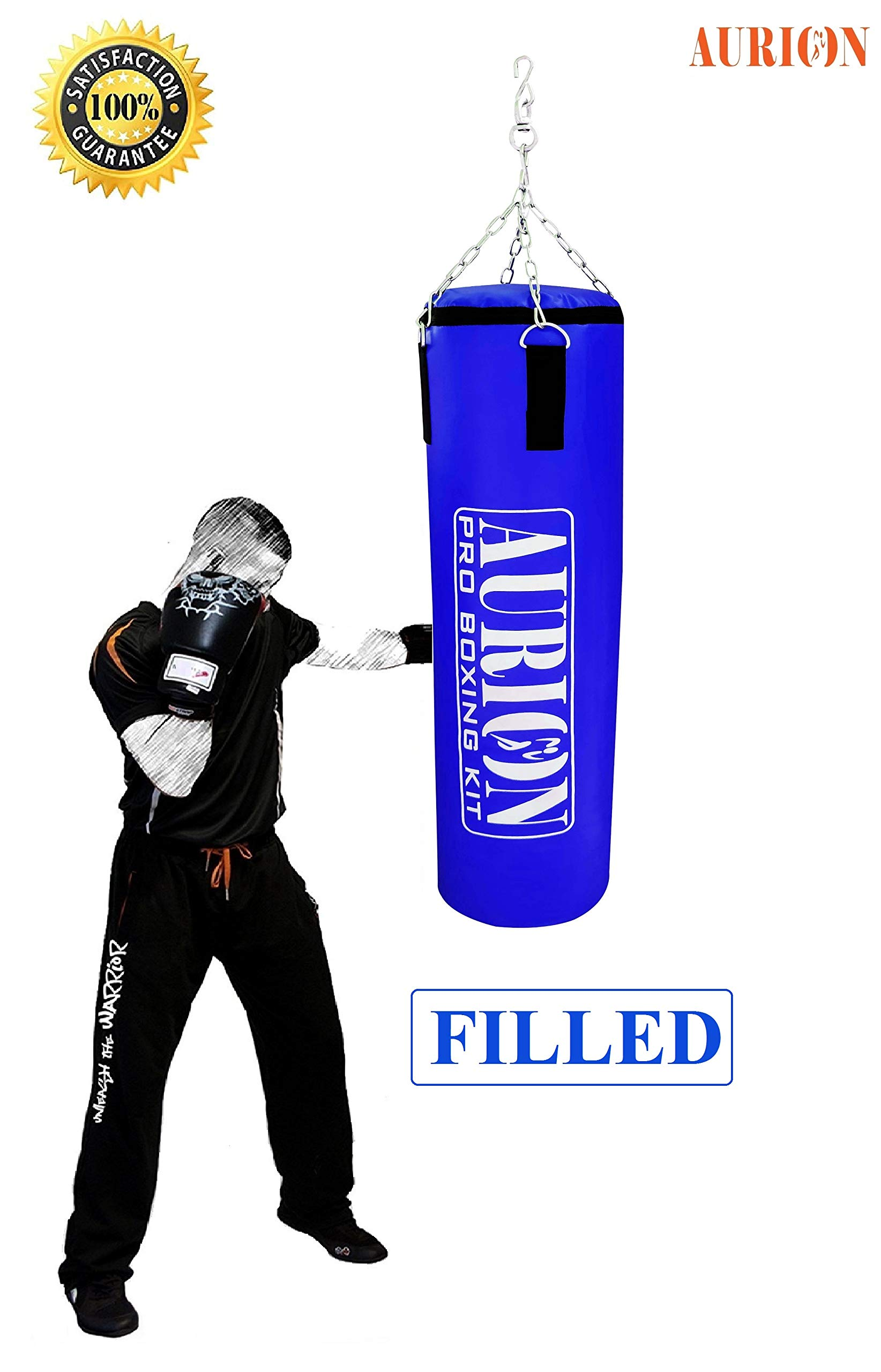 Aurion Synthetic Leather Punching Bag- Black - Filled 4 Feet with Free Chain Heavy Bag with Chain (B077YSVM31) Amazon Price History, Amazon Price Tracker