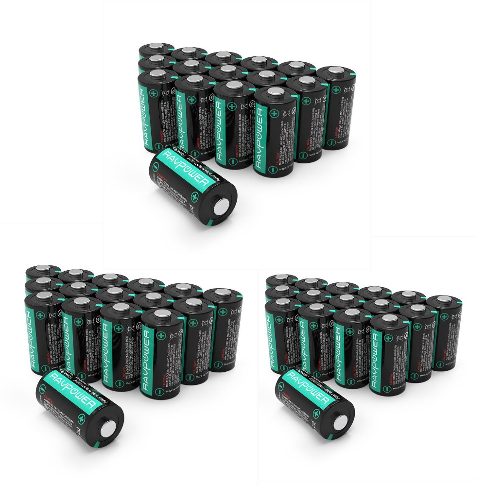 [3-Pack] CR123A Lithium Batteries [Upgraded] RAVPower 3V Lithium Battery Non-Rechargeable, 16-Pack, 1500mAh Each, 10 Years of Shelf Life for Arlo Cameras, Polaroid, Flashlight, Microphones and More