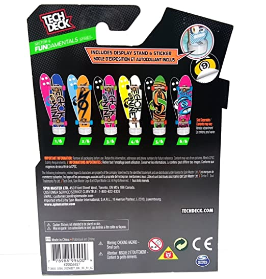 Amazon.com: Tech Deck Sector 9 Skateboarding Co. Fundamentals Series 6/6 Fingerboarding Cruiser: Toys & Games