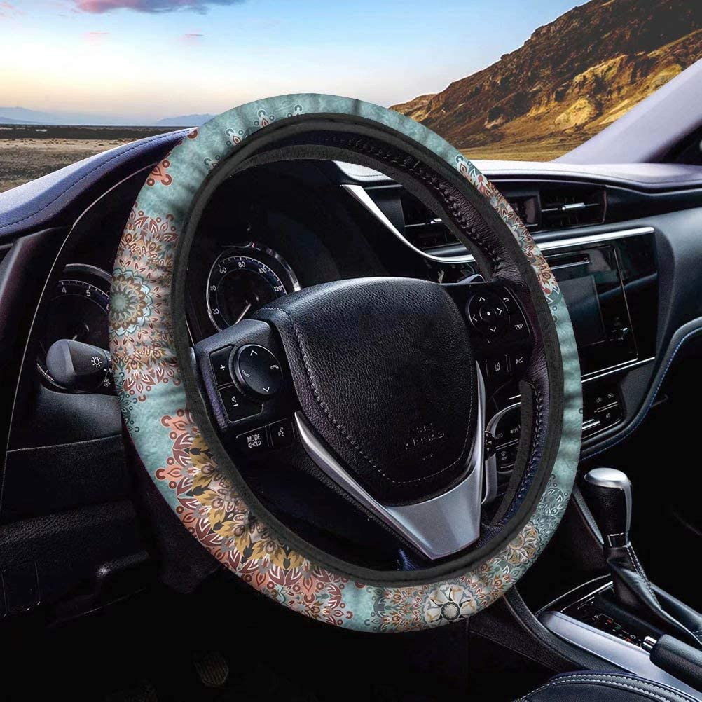FOR U DESIGNS Sunflower Steering Wheel Cover Car Stretch Steering Wheel Covers Anti-slip for Girls Women Vehicle Accessory