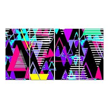 Dekoglas Glasbild Neon Dreiecke Acrylglas Bild Kuche Wandbild