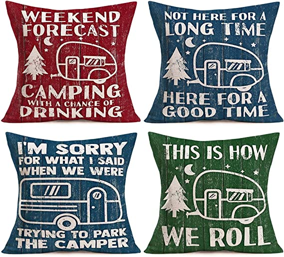 Amazon Com Asamour Camping Pillow Covers Cotton Linen Happy Camper Quote Saying Rv Travel Car Mountain Forest Tree Throw Pillow Case Decorative Cushion Cover 18 X18 Set Of 4 Rustic Colored Wood Background Home