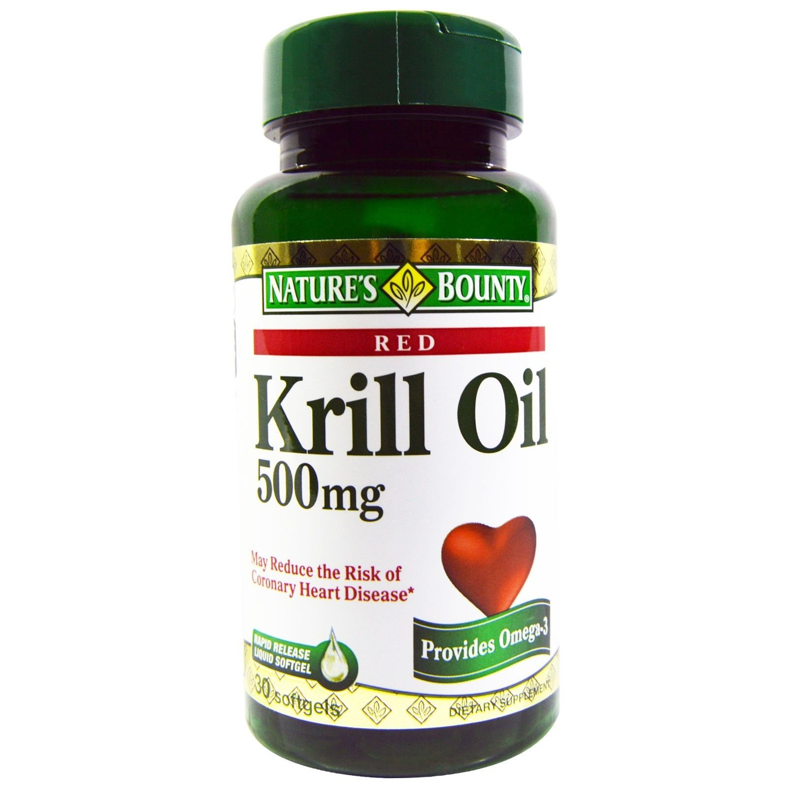 Nature's Bounty Red Krill Oil 500 mg Dietary Supplement Softgels 30 Soft Gels (Pack of 11)