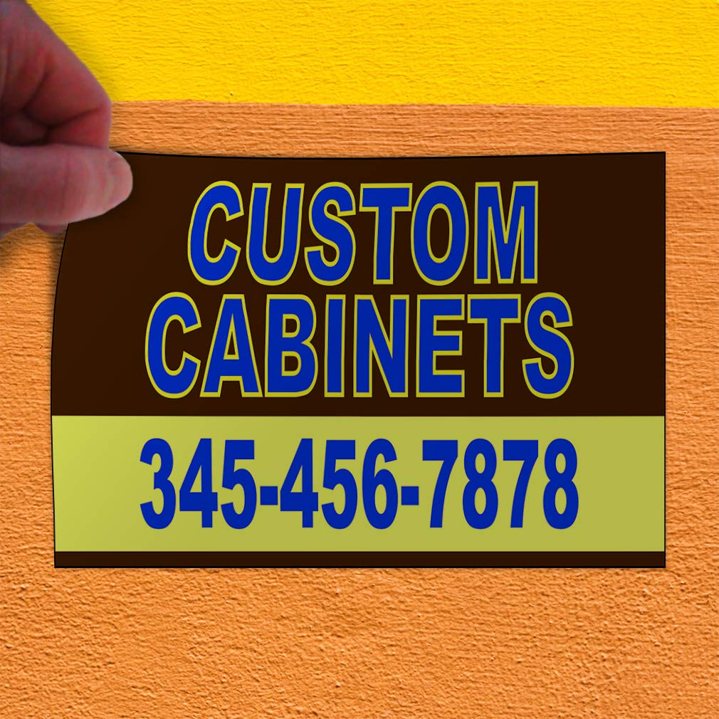 Custom Door Decals Vinyl Stickers Multiple Sizes Custon Cabinets Phone Number Retail Cabinets Outdoor Luggage /& Bumper Stickers for Cars Brown 14X10Inches Set of 10