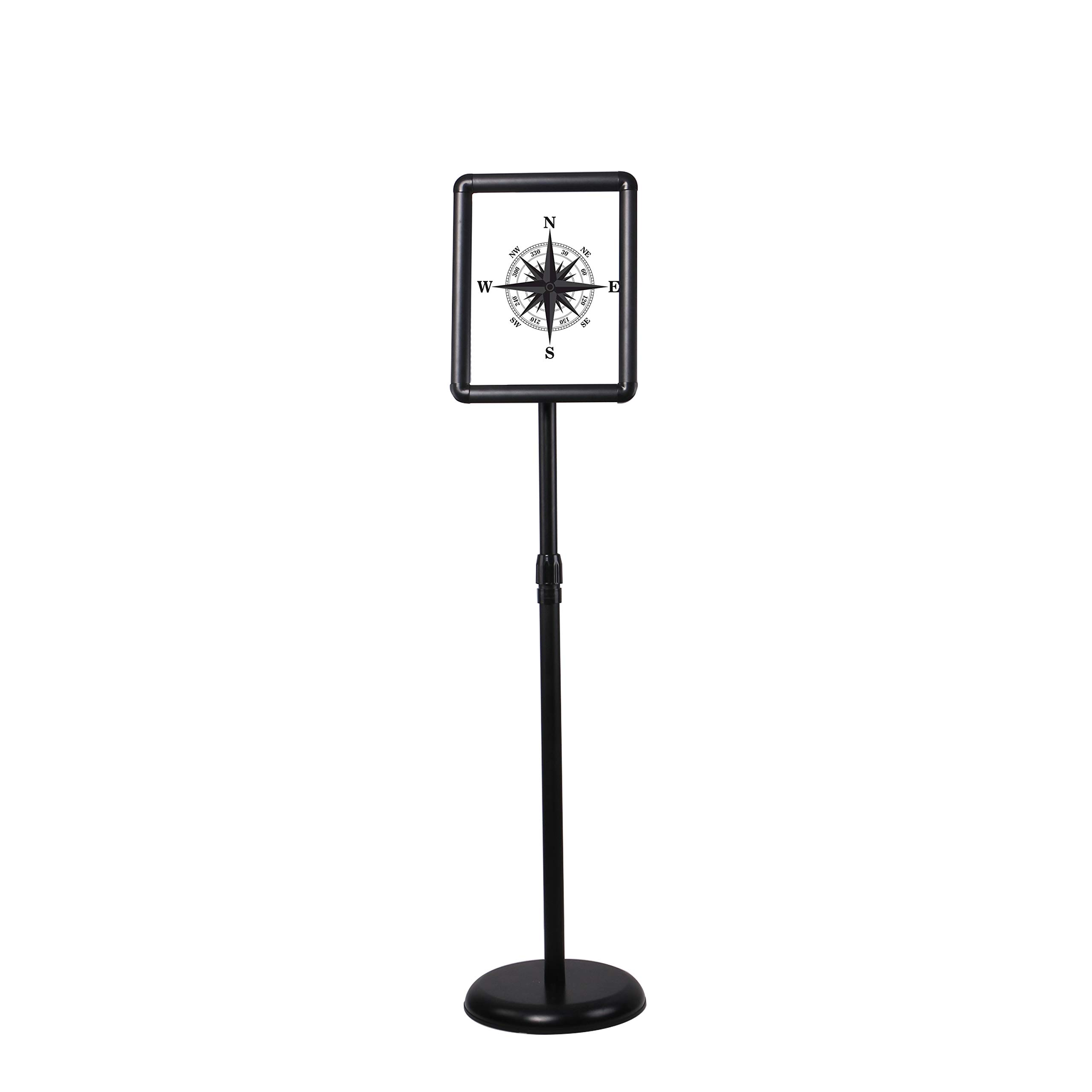 Floor Sign Stand Adjustable Pedestal Sign Holder Stand, Poster Stand Aluminum Snap Open Frame for 8.5X11 Inches with Heavy Round Base, Both Vertical and Horizontal Sign Displayed (Black) by SCZS