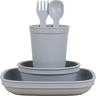 product image for Re-Play Made in The USA Eco Friendly Dinnerware Set for Toddlers and Children - Drinking Cup, Deep Walled Plate,Bowl. Spoon & Fork Set (Grey)