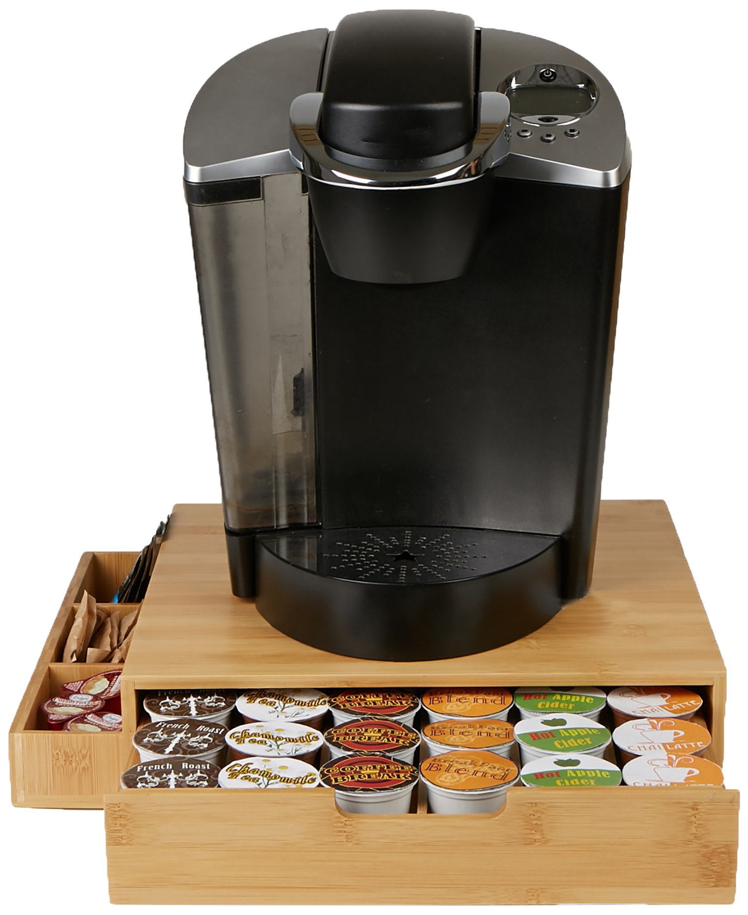 Mind Reader Bamboo 36 Capacity K-Cup Single Serve Coffee Pod Drawer with Side Condiment Caddy Organizer, Brown by Mind Reader