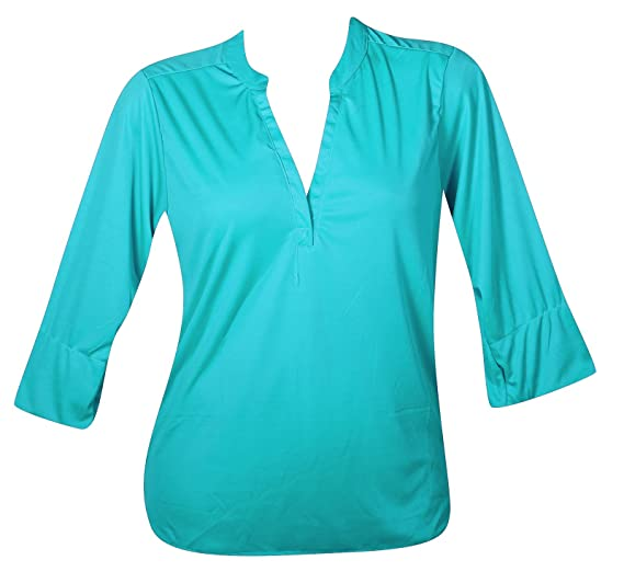 Uniti Plus Size Turquoise Roll Sleeve Blouse At Amazon Women S