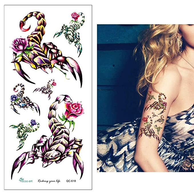 Skorpion Tattoo Arm Tattoo Fake Tattoo QC618 Skorpion y rosas ...