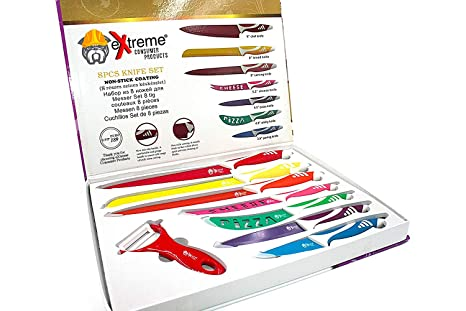 Color Coded Kitchen Cutlery Set - 8 Piece Culinary Knife Set - Non-Stick Blades and No Slip Grip Handles for Safety