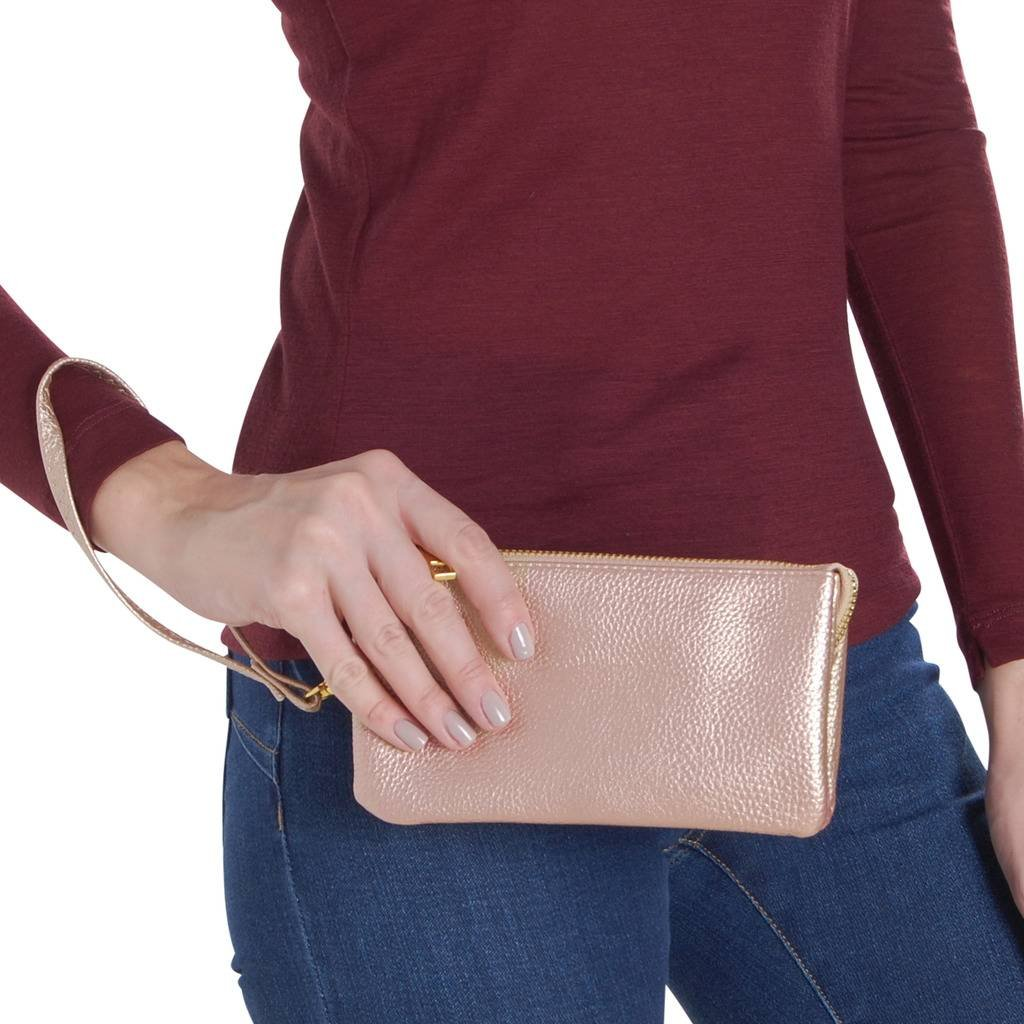 Humble Chic Vegan Leather Wristlet Wallet Clutch Bag - Small Phone Purse Handbag, Champagne Gold, Metallic by Humble Chic NY (Image #5)