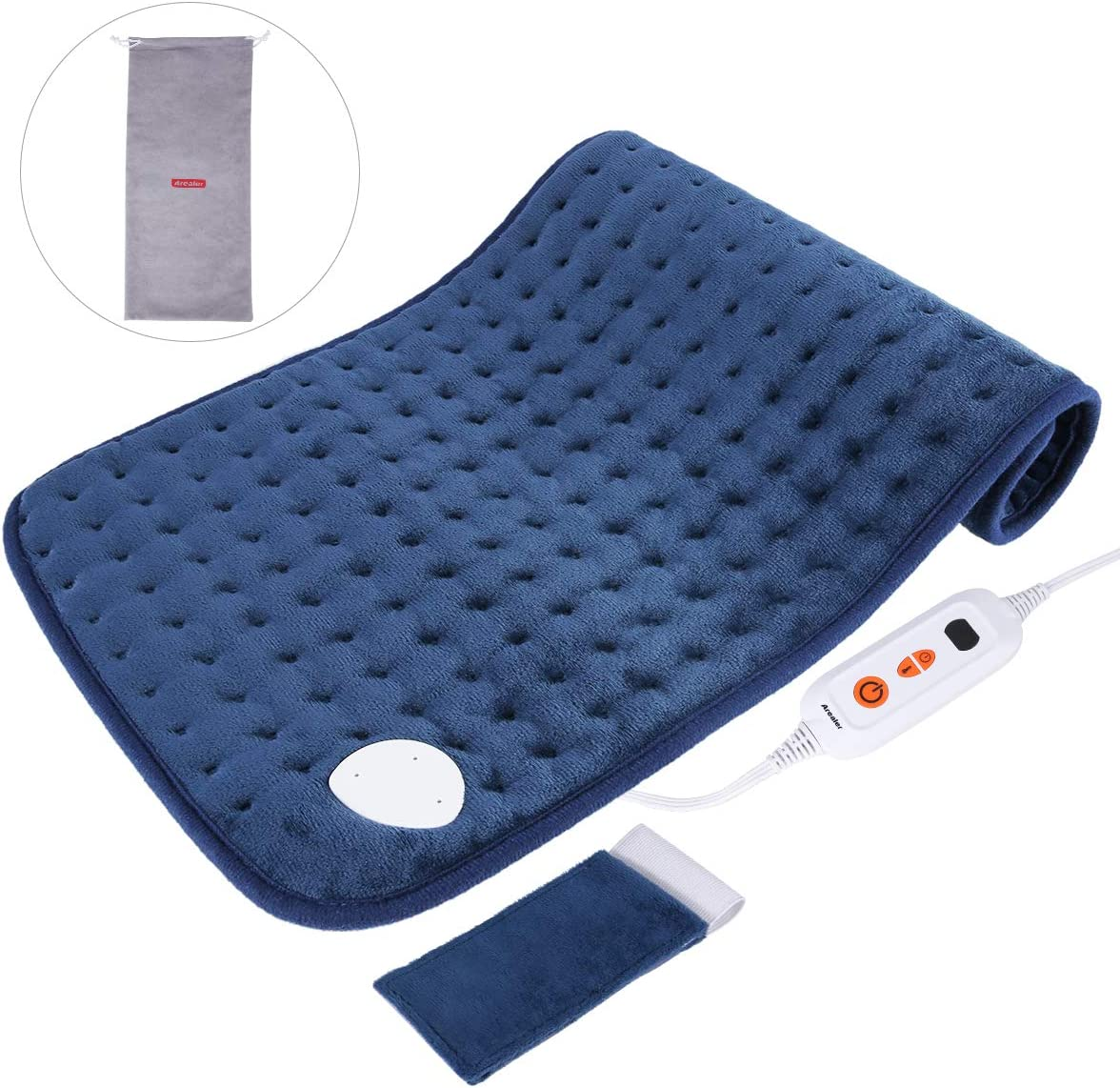 "Arealer Heating Pad Fasting Heating 6 Temperature Settings Washable Auto Shut-Off Therapy with Storage Bag 12"" x 24"""