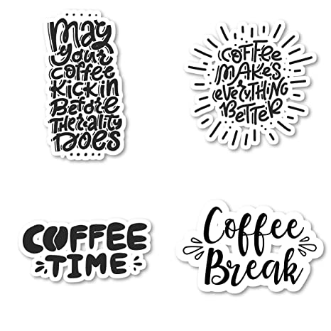 Amazon.com: Coffee Quotes Sticker Pack Funny Coffee Stickers ...