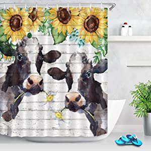 LB Watercolor Farm Cow Shower Curtain Farmhouse Animal Cattle with Daisy Yellow Sunflower Shower Curtain Funny Kids Bathroom Decor 60x72 Inch Polyester Fabric with 10 Hooks