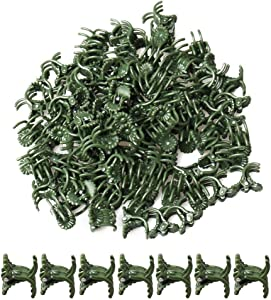 pengxiaomei 100 pcs Plant Support Clips, Garden Orchid Daisy Clips Flower and Vine Clips for Supporting Stems Vines Grow Upright Dark Green