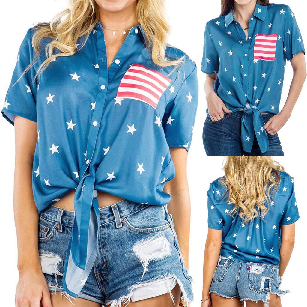 Coaches' & Referees' Gear Coaches' & Referees' Gear COLNER 4th of July Tops for Women Short Sleeve USA Flag Stars Print Patriotic Striped Tie Front Shirt Casual Blouse