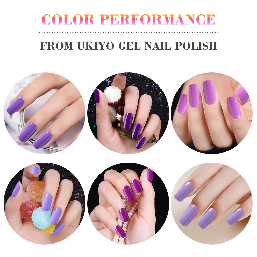 Gel de uñas led UV Soak Off Gel Polish Nail Art - morado de barniz de uñas por ukiyo: Amazon.es: Belleza