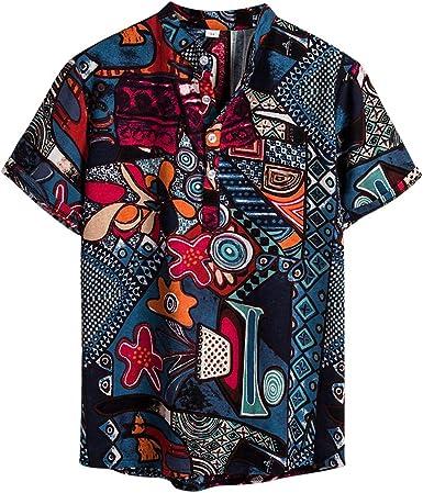 NEWISTAR Camisa de lino para hombre Henley manga corta cuello de banda Hawaiano camisa de verano casual vintage étnica Tops ropa: Amazon.es: Ropa y accesorios