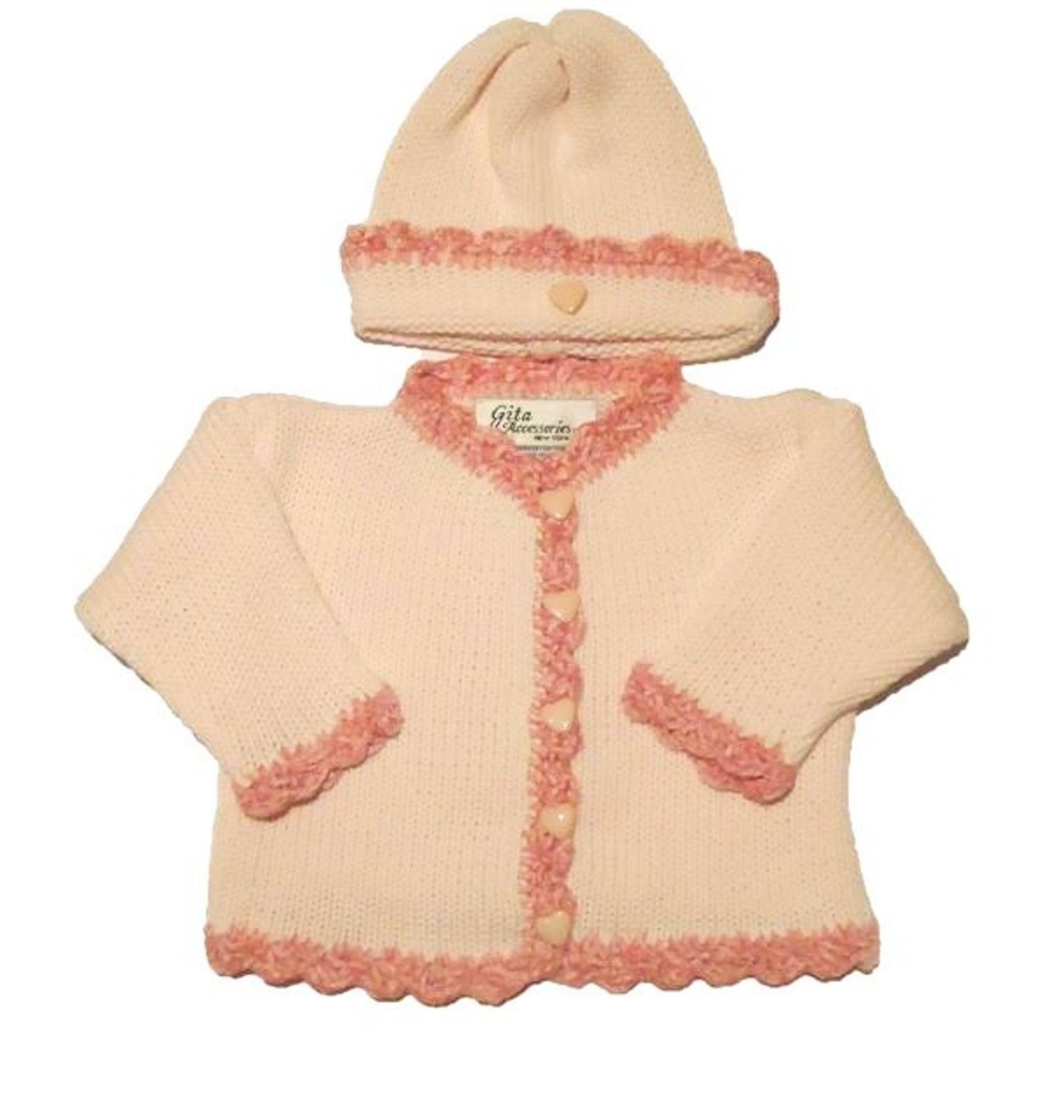 Knitted Crochet Pink Cotton Raspberry Chenille Trim Cardigan Hat Set 6-12 Mnths by Sanjit