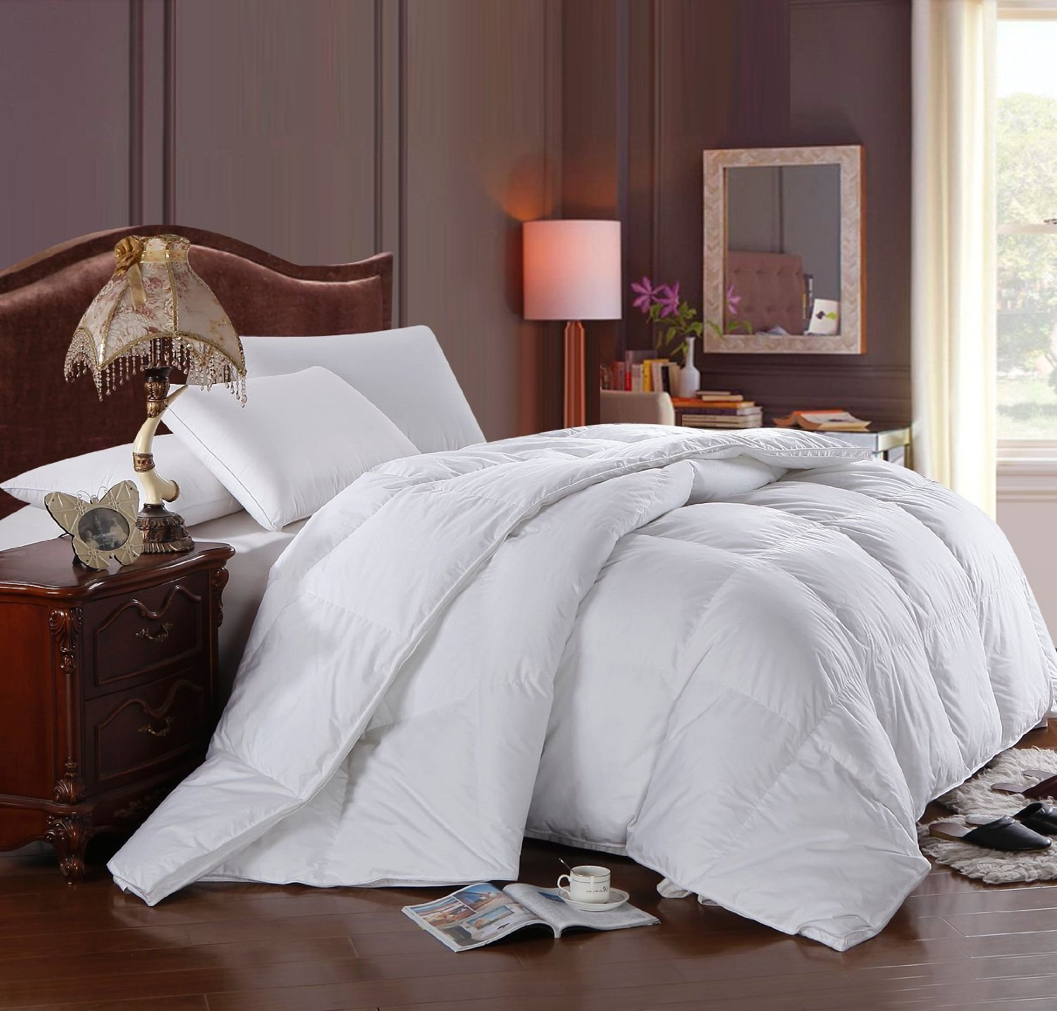 ALL SEASON DOWN COMFORTER, 300 Thread Count 100% Cotton Solid Shell, 600FP, 28 Ounce Down fill, Twin/Twin-Extra-Long