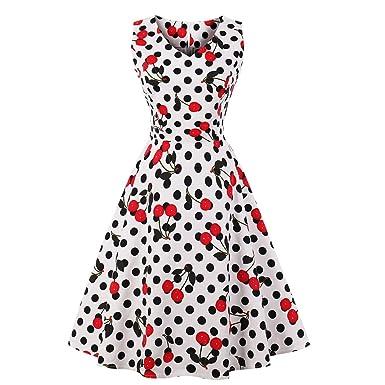 72647d82e72 Women s 50s Retro V Neck Cheery Print Dresses 1950s Vintage Sleeveless  A-Line Swing Dress