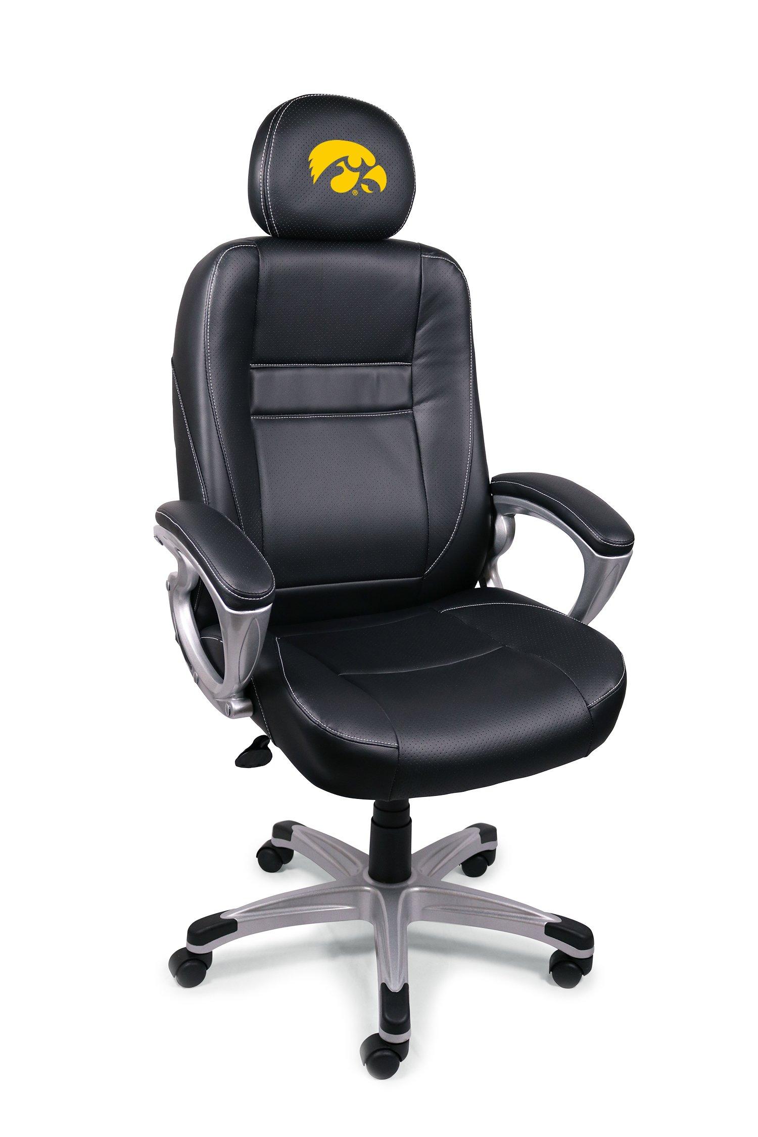 Wild Sports NCAA College Iowa Hawkeyes Leather Office Chair