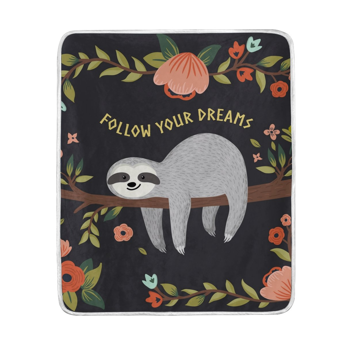 My Little Nest Follow Your Dreams Cute Sloth Soft Throw Blanket Lightweight MicrofiberCozy Warm Blankets Everyday Use for Bed Couch Sofa 50'' x 60''