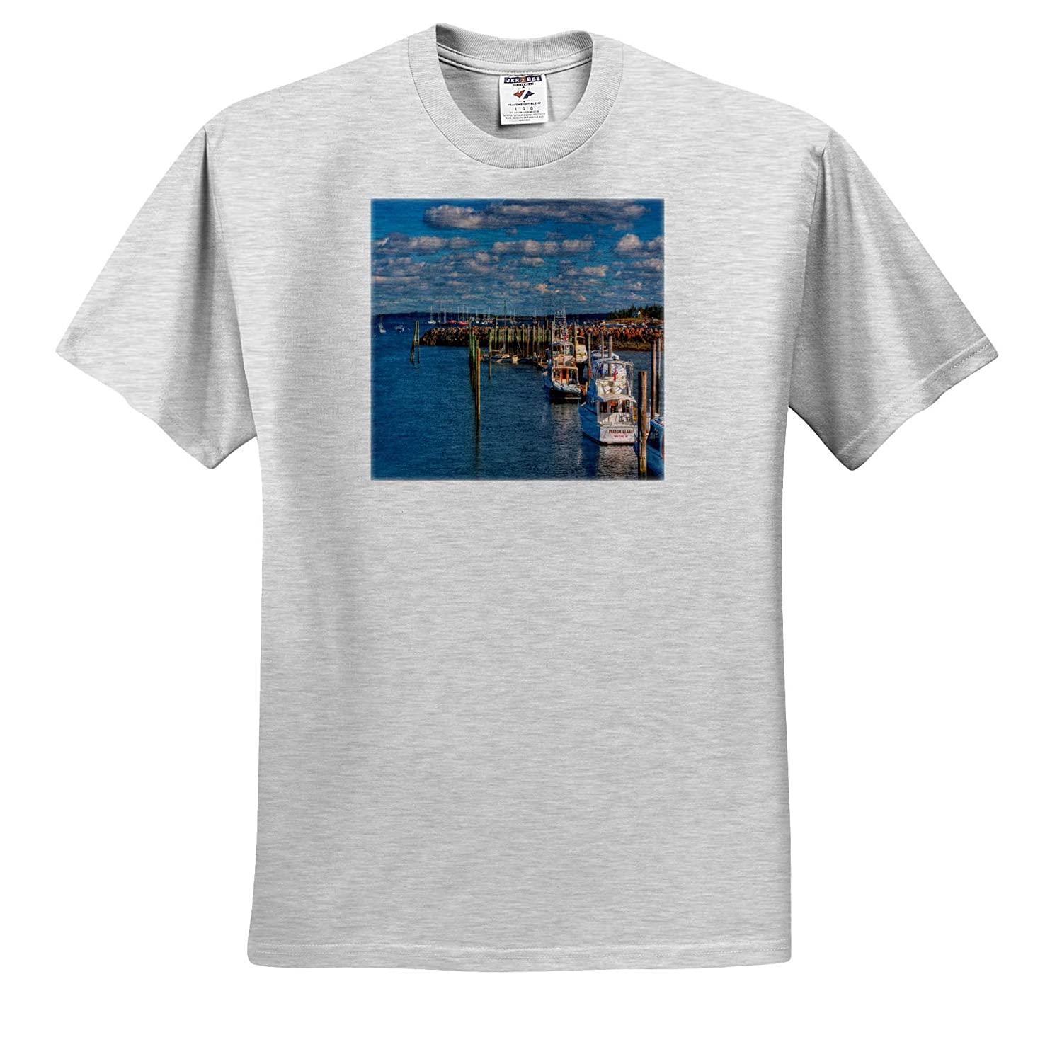 ts/_317145 3dRose Mike Swindle Photography Adult T-Shirt XL Landscapes Fishing Boats in Marina