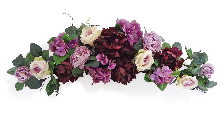 V-Max Floral Decor 32'' Eggplant Rose Swag
