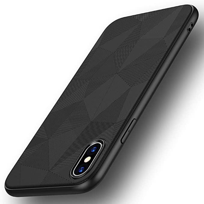 Losvick Iphone Xs Max Case With Tempered Glass Screen Protector Shockproof Lightweight Soft Silicone Tpu Bumper Case Carbon Fiber Protective Cover
