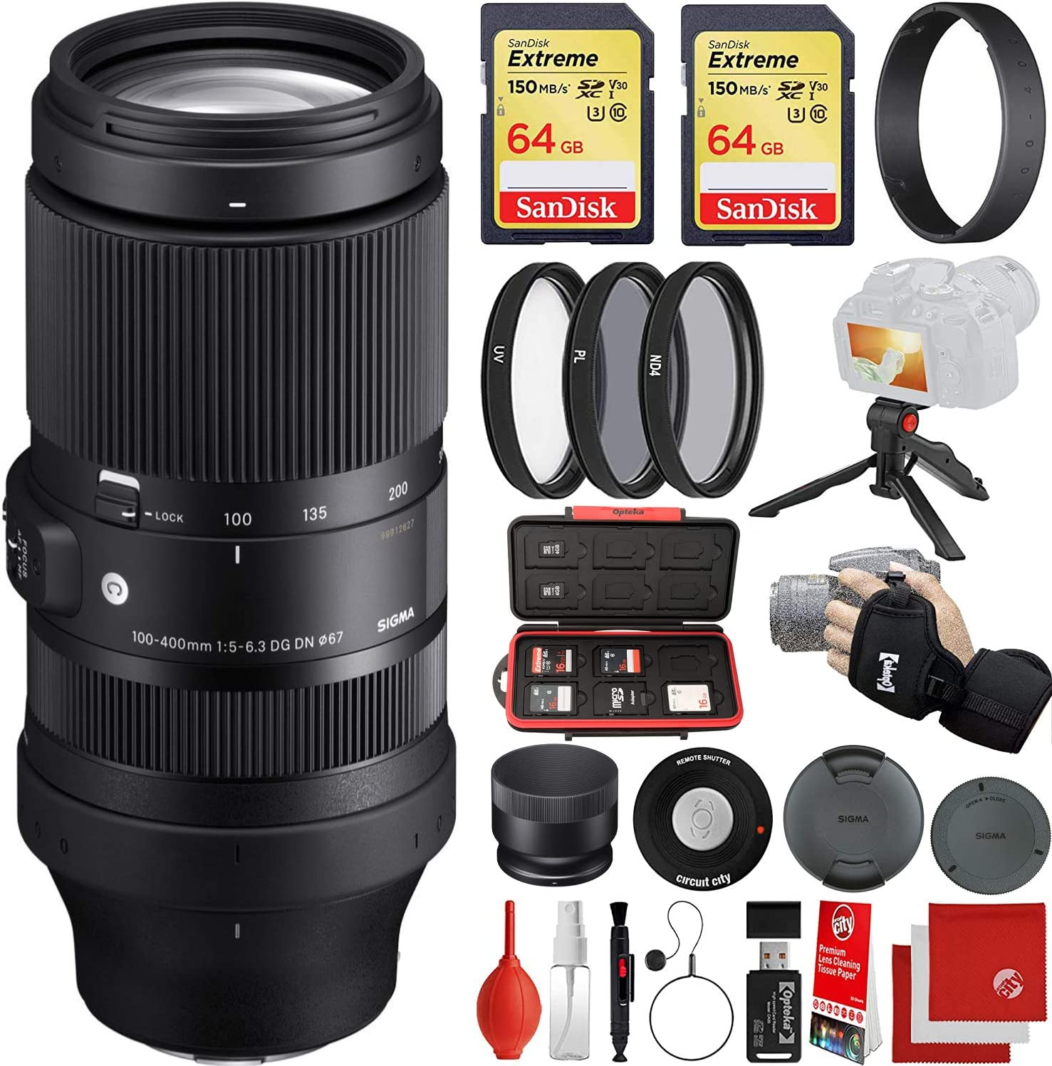 Sigma 100-400mm f/5-6.3 DG DN OS Contemporary Lens Sony E-Mount Bundle with 2X 64GB Memory Cards, IR Remote, 3 Piece Filter Kit, Wrist Strap, Card Reader, Memory Card Case, Tabletop Tripod