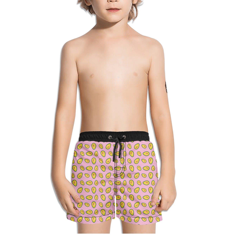 Trum Namii Boys Quick Dry Swim Trunks Golden Avocado Pink Background Shorts