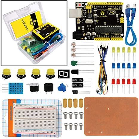 Keyestudio Uno R3 Breadboard Kit For Arduino Education Project With Dupont Wire+led+resistor+pdf Smart Home Free Shipping