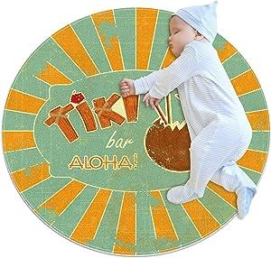 Area Rugs for Bedroom, Ultra-Luxurious Soft and Thick Non-Slip Carpet for Kids Baby Room, Nursery Modern Decor Rug 2.3Ft, Retro Tiki Bar Aloha Menu