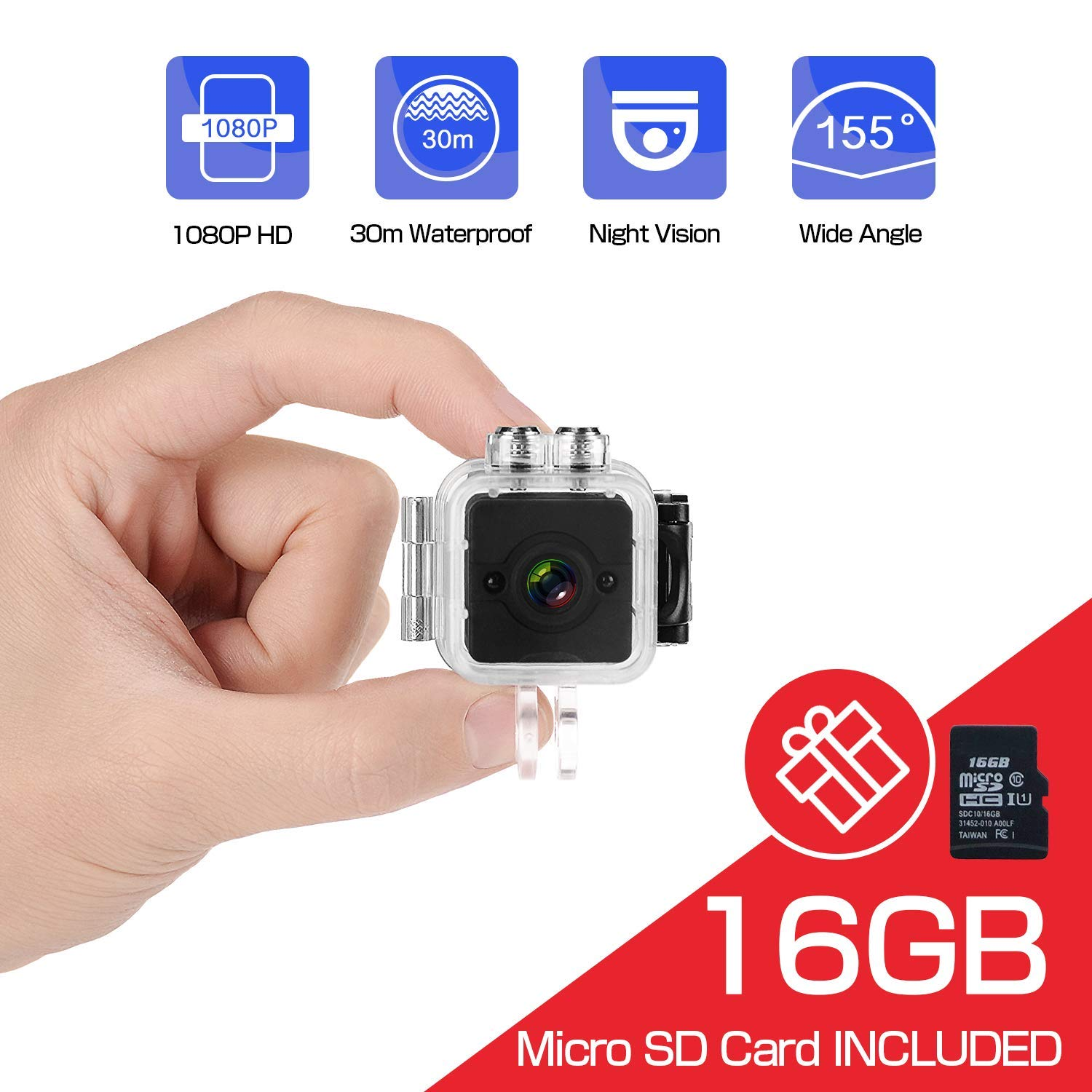 Mini Hidden Cameras, HD 1080P Wireless Nanny Spy Video Recording Cameras, Waterproof Tiny Security Surveillance Cam with Night Vision/Motion Detection for Indoor/Outdoor/Home/Car/Office Security-Come