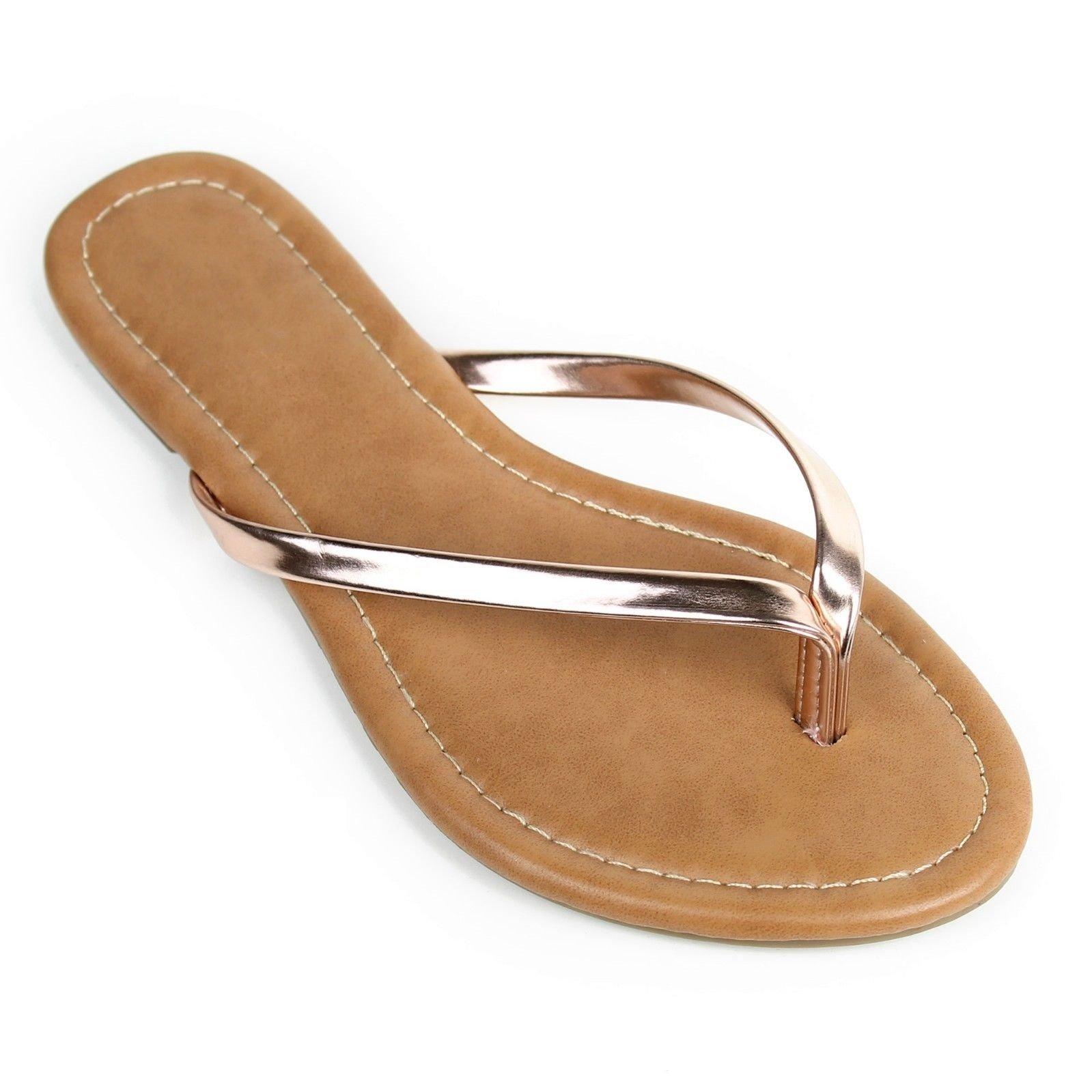 Red Circle Women's Summer Flat Flip Flops Slip On Sandals Shoes (10, Rose Gold)