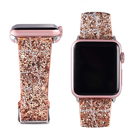 Moonooda Replacement Iwatch Bands 42mm 44mm Women, Bling Glitter Strap Belt Compatible With Series 4 And Series 3/2/1, Rose Gold & Silver by Moonooda