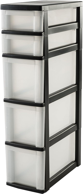 34 L pl/ástico 40 x 20 x 71,5 cm New Slim Chest Iris Ohyama negro // transparente torre de almacenamiento con 4 cajones sobre ruedas NSC-213