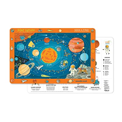 Crocodile Creek 2827-4 Solar System 2-Sided Placemat, Blue/Orange/Red/Yellow: Toys & Games