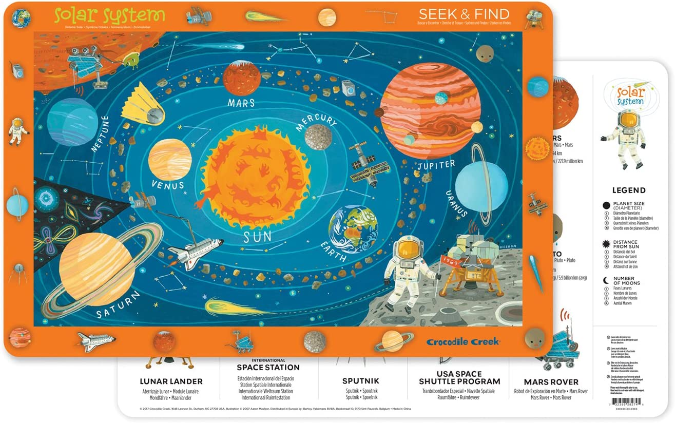 Crocodile Creek 2831-1 Jungle Jamboree 2-Sided Placemat Childrens Placemat Blue Yellow Green Red Orange