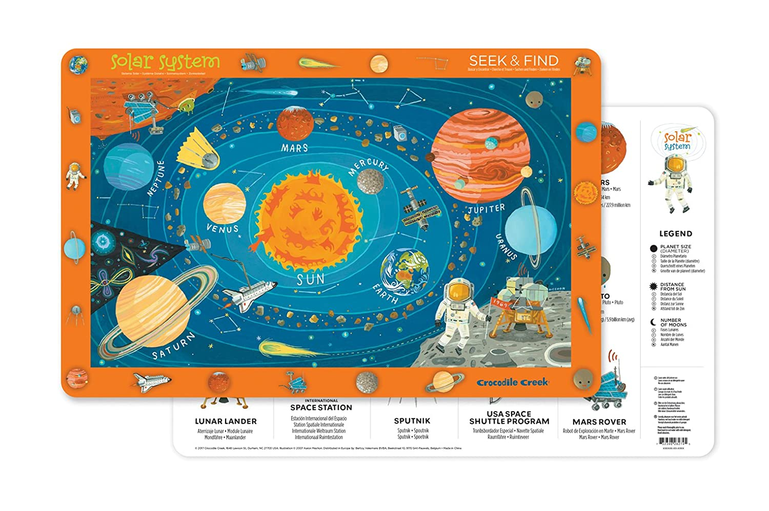Crocodile Creek Solar System 2-Sided Placemat Children's, Blue, Orange, Red, Yellow 2827-4