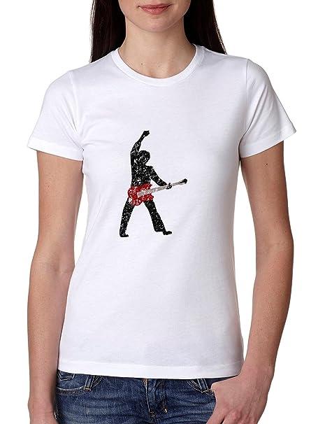 Rock guitarrista de silueta en de interferencia guitarra eléctrica camiseta de algodón de las mujeres: Amazon.es: Ropa y accesorios