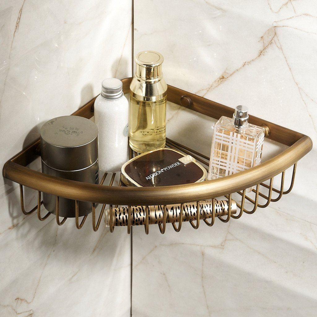 Corner Basket for Bathroom by MAMOLUX ACC| Solid Brass Shower Basket Shelf Tidy Rack Caddy Storage Organizer Antique Bronze Finish|Space Saving Toiletries/Cosmetics Holder by Marmolux Acc (Image #2)