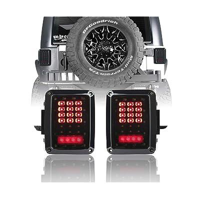 u-Box Smoked Jeep Wrangler Tail Light w/Brake Light & Turn Signal for Jeep JK Wrangler JK 2007-2020: Automotive [5Bkhe0907273]