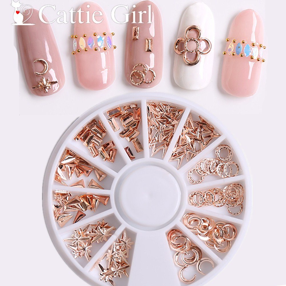 Cattie Girl 1 Box Metal Moon Rose Gold Nail Accessories Round Geometric Wheel Studs Gold 3D Nail Art Decorations for Nail Gel